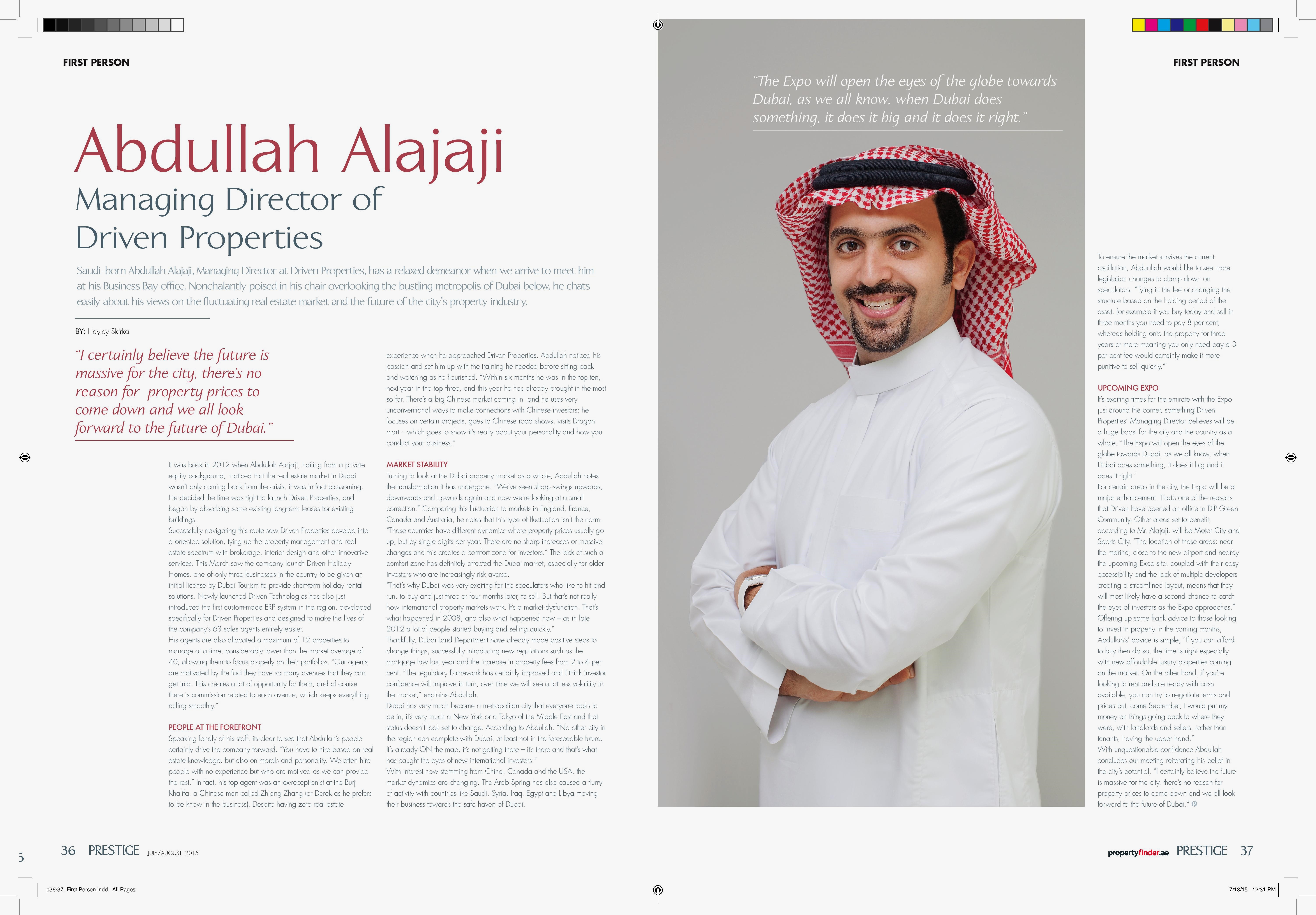 Driven Properties' Abdullah Alajaji in Prestige Magazine